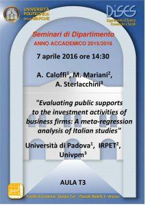 Locandina Seminari di Dipartimento_Caloffi, Mariani, Sterlacchini