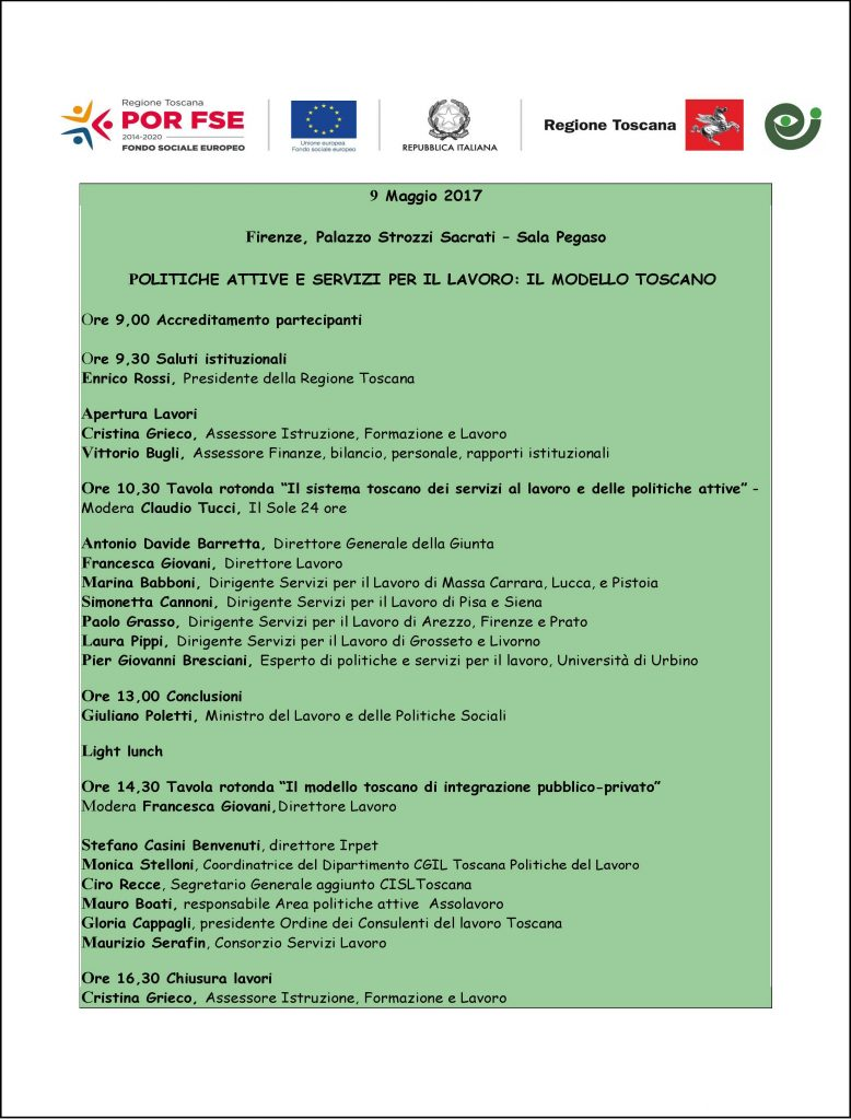 Programma evento lavoro 9 maggio 2017