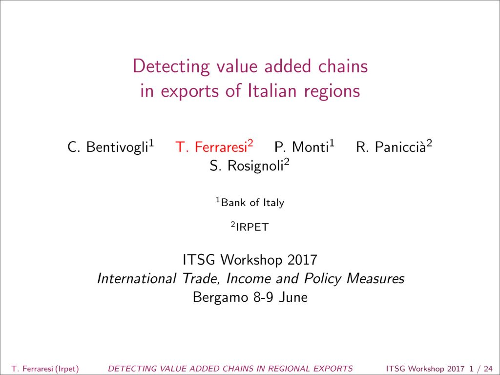 Detecting value added chains  in exports of Italian regions