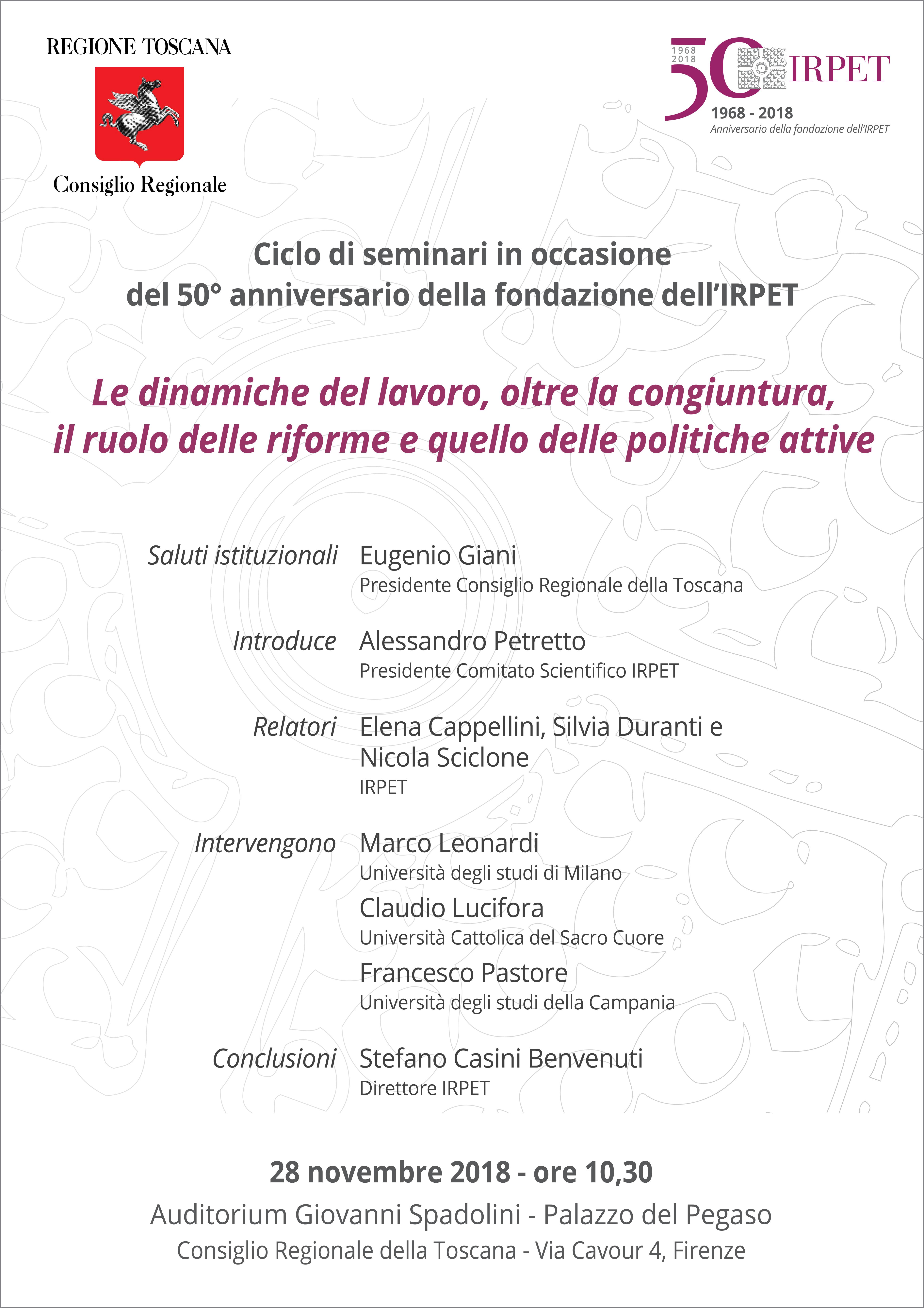Locandina IRPET II seminario 50mo 28.11