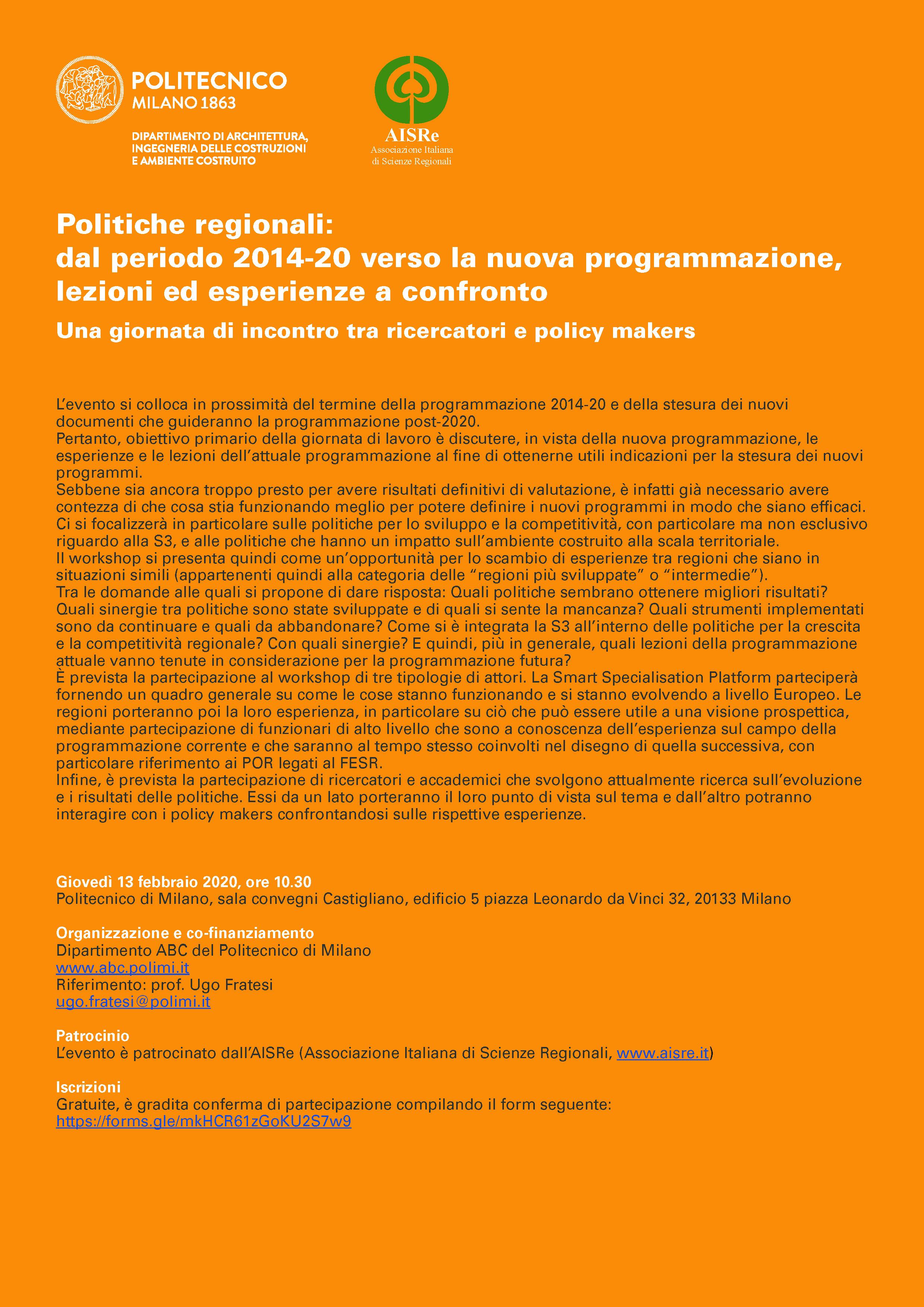 Locandina giornata incontri Polimi_AISRe 13.02.2020