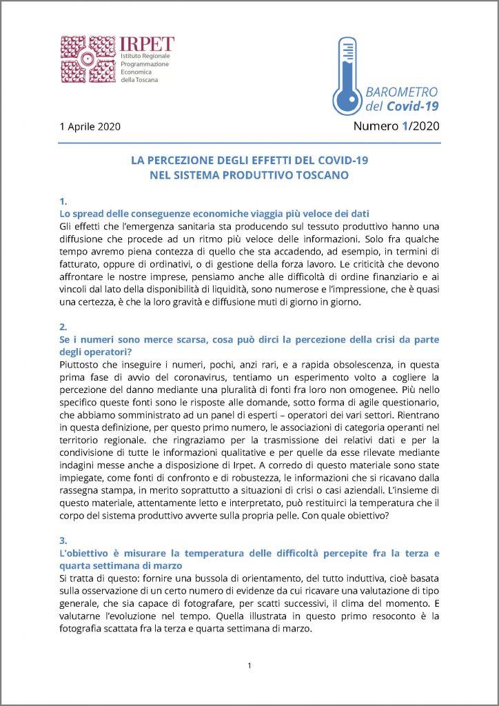 cover Barometro Covid-19 n. 1 del 1.04.2020