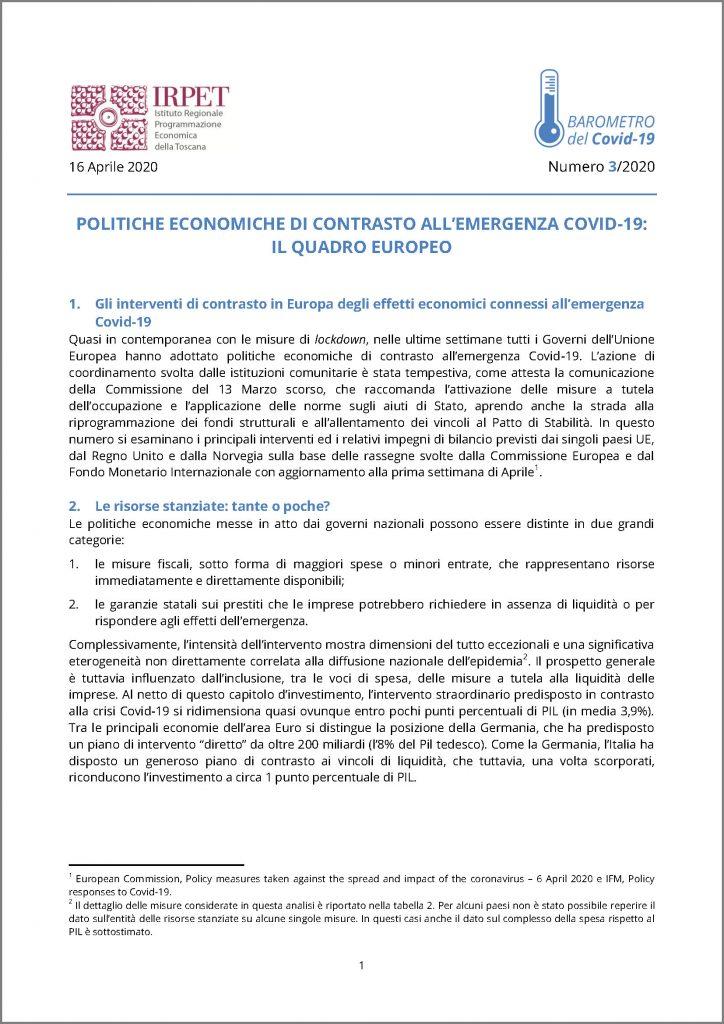 cover Barometro Covid-19 n. 3 del 16.04.2020
