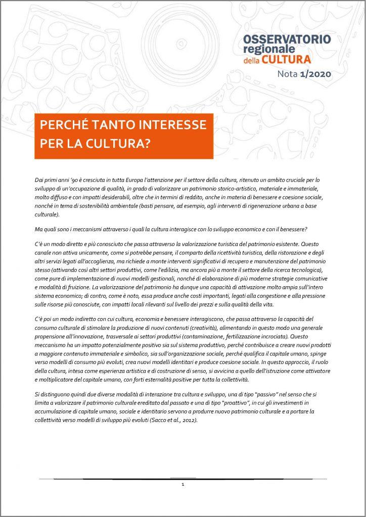 cover Nota 1_2020 Osservatorio regionale della Cultura