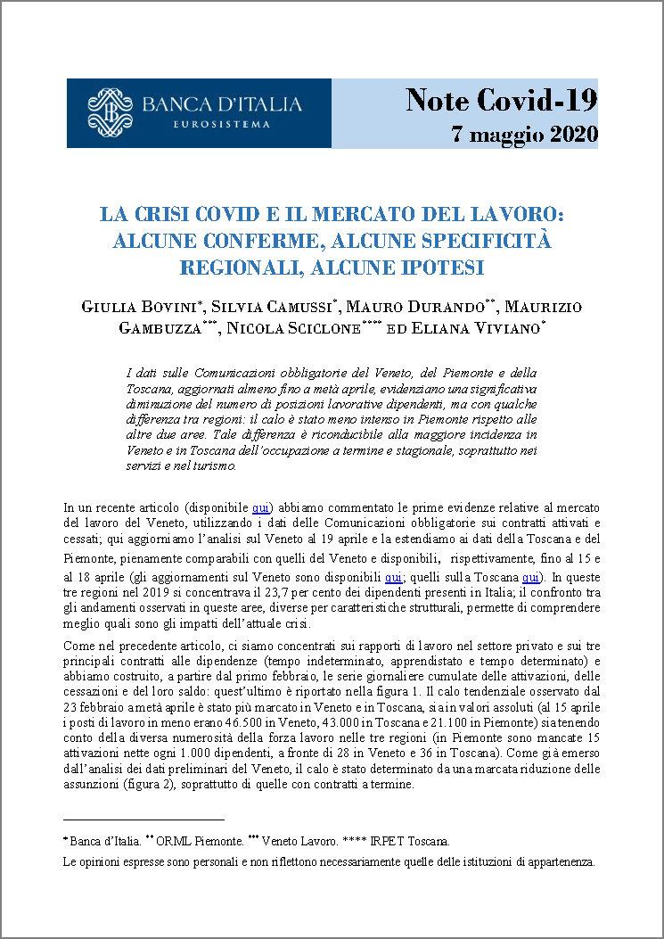cover Articolo Covid e Mercato del lavoro Banca d'Italia 7.05.2020