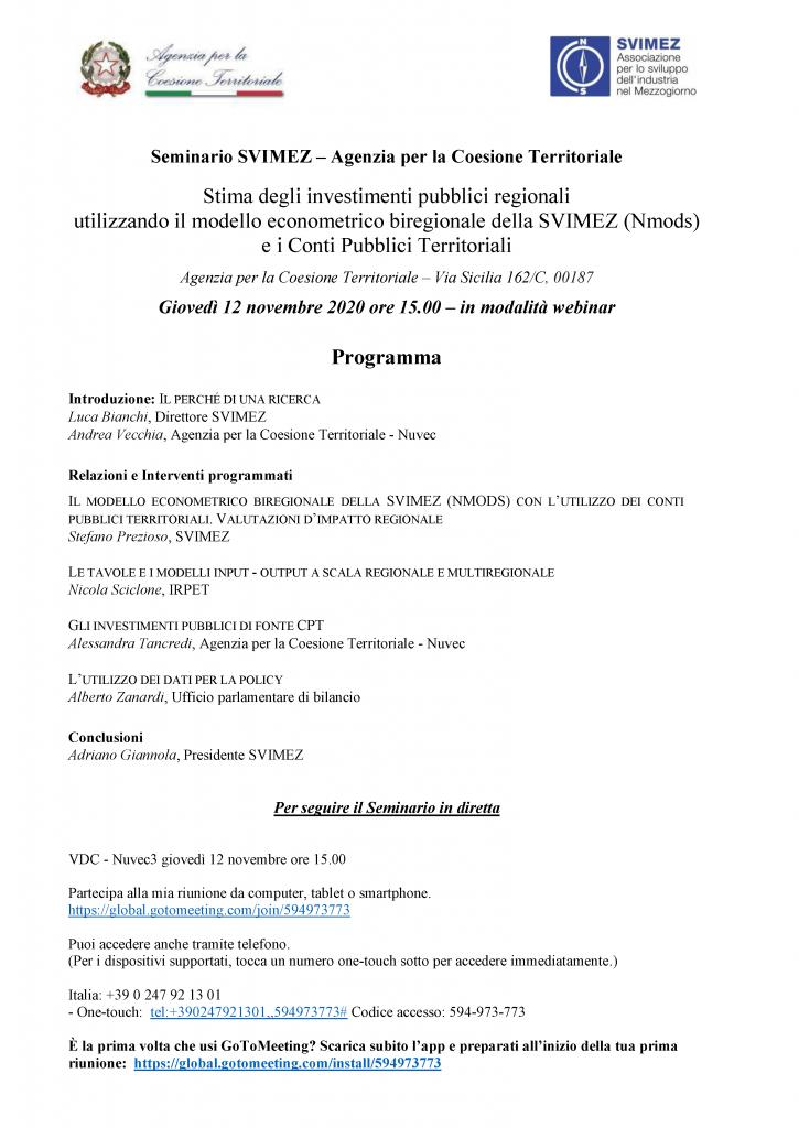 Seminario Svimez Agenzia Coesione_12 nov 2020