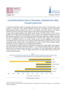 Barometro 21 4.05.2021 Le esportazioni della Toscana