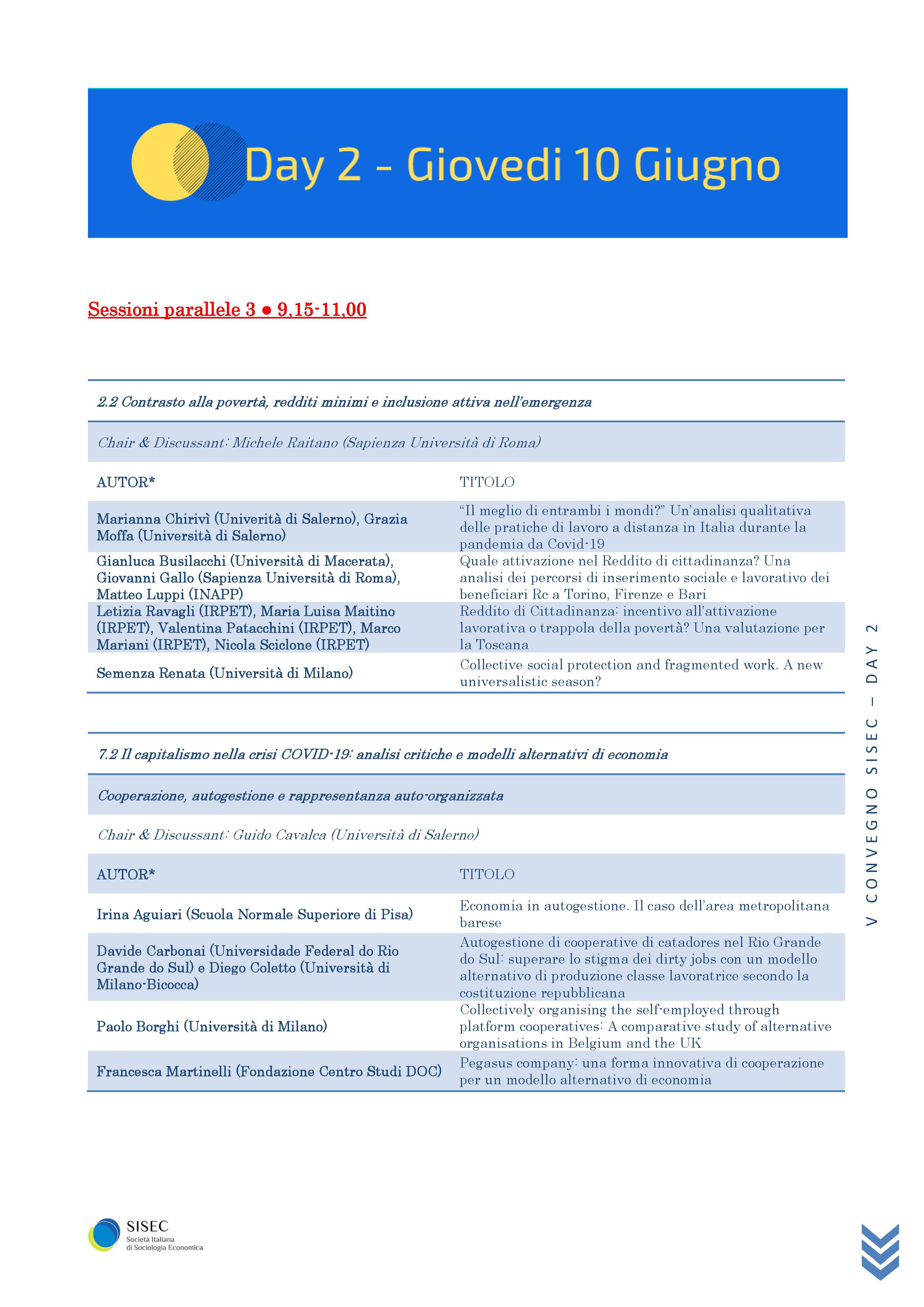 Pagine da V Convegno Sisec - Programma definitivo completo