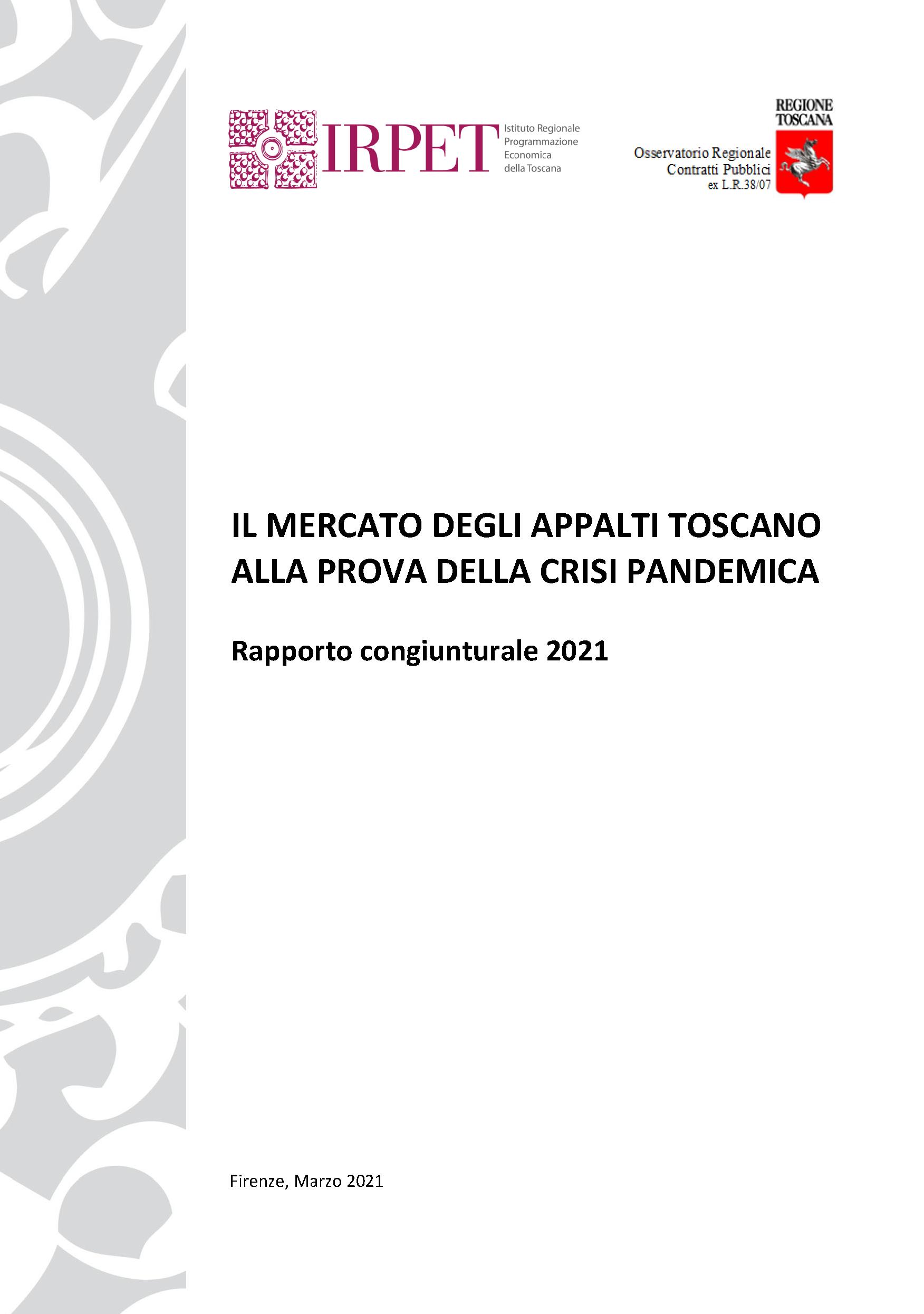 Rapporto Irpet-Osservatorio Mercato Contratti Pubblici 2021
