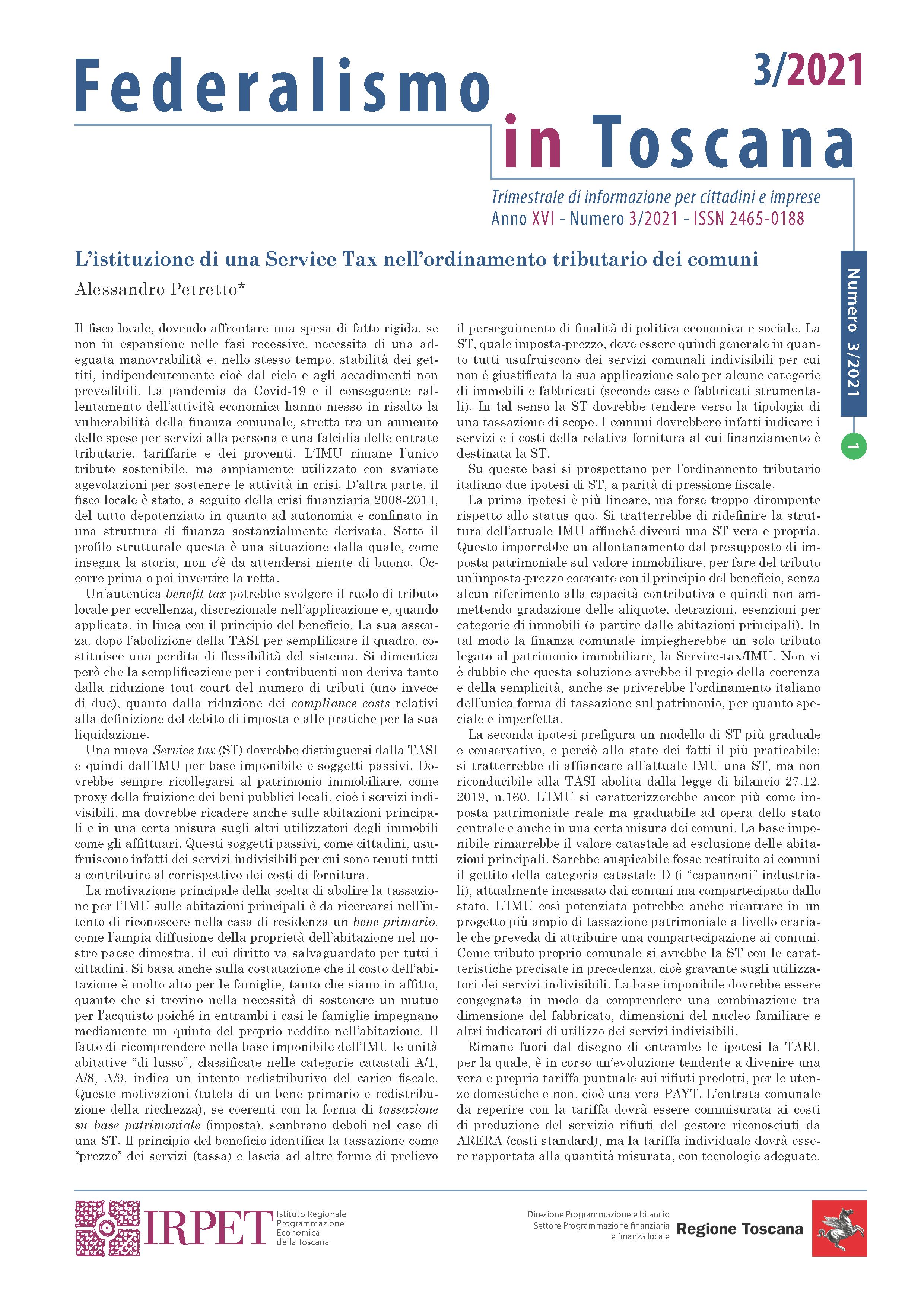 Federalismo in Toscana 3.2021